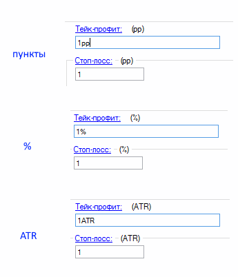 Защитные заявки (стоп и профит), 3 варианта настройки: пункты (pp), проценты (%), значение ATR